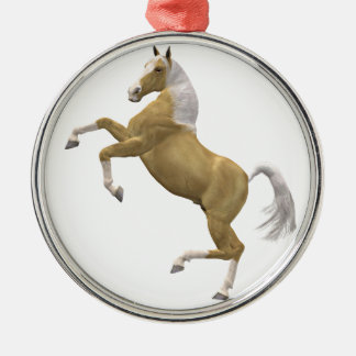 Rearing horse Silver-Colored round decoration
