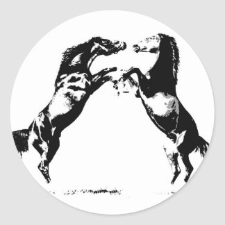 Rearing Horses Round Sticker