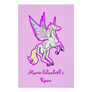 Rearing Unicorn Guardian Angel poster