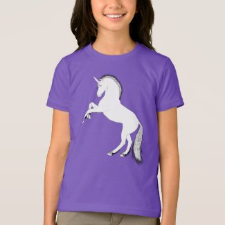 Rearing white unicorn t-shirt