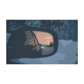 Rearview Mirror with a Reflecting Sunset Canvas