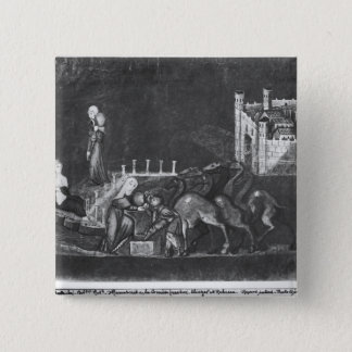 Rebecca and Eliezer at the well 15 Cm Square Badge
