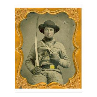 Rebel Calvalryman Postcard
