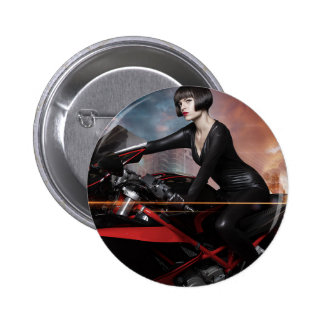Rebel City, Sensual and Beautiful brunette woman 6 Cm Round Badge