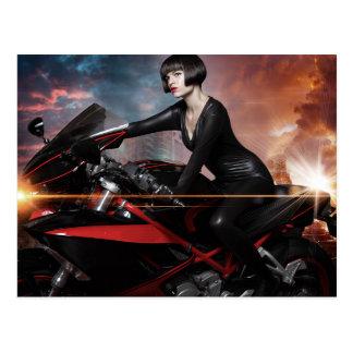 Rebel City, Sensual and Beautiful brunette woman Postcard