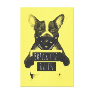 Rebel dog (yellow) canvas print