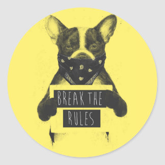 Rebel dog (yellow) round sticker