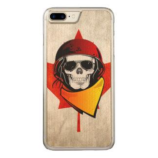 Rebel Skull Distressed Canadian Flag Carved iPhone 8 Plus/7 Plus Case