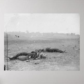 Rebel soldiers as they fell near Burnside Bridge Poster