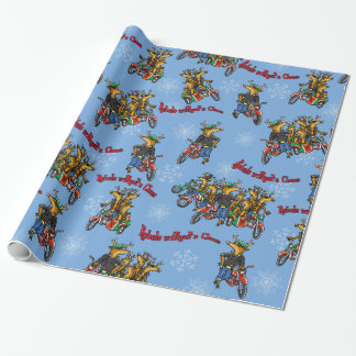 Rebels without a Claus Reindeer Blue Holiday Wrapping Paper