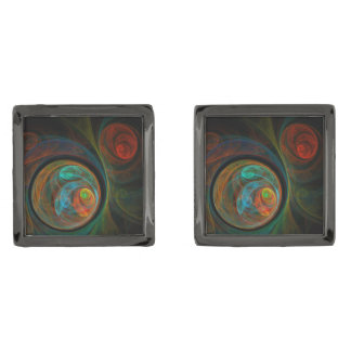 Rebirth Blue Abstract Art Gunmetal Finish Cufflinks