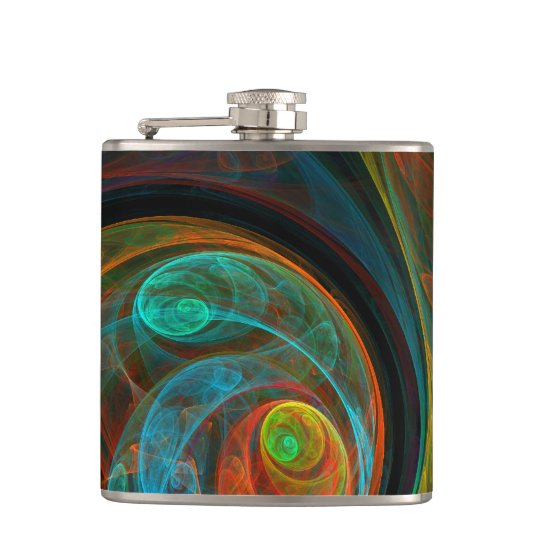 Rebirth Blue Abstract Art Hip Flask