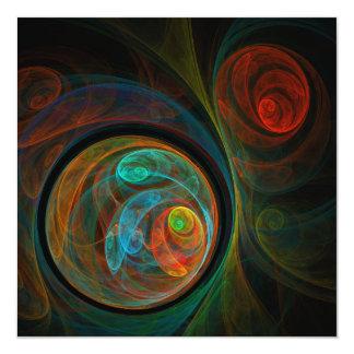 """Rebirth Blue Abstract Art 5.25"""" Square Invitation Card"""