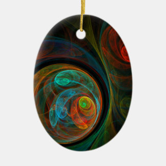 Rebirth Blue Abstract Art Oval Ornament