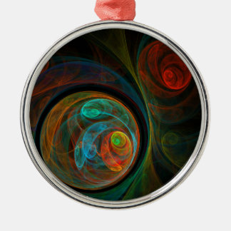 Rebirth Blue Abstract Art Round Christmas Ornament