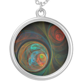 Rebirth Blue Abstract Silver Necklace