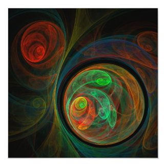 Rebirth Green Abstract Art 13 Cm X 13 Cm Square Invitation Card