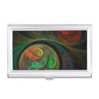 Rebirth Green Abstract Art Business Card Holder