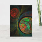 Rebirth Green Abstract Art Greeting Card