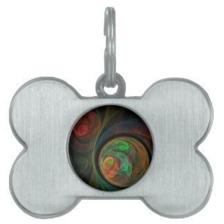 Rebirth Green Abstract Art Pet ID Tag