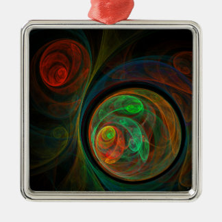 Rebirth Green Abstract Art Square Christmas Ornament