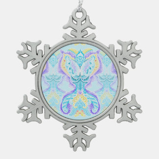 Rebirth Pattern, New age, meditation, boho, hippie Snowflake Pewter Christmas Ornament