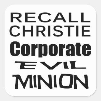 Recall Governor Chris Christie Koch Oil's Minion Stickers
