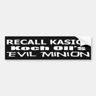 Recall Governor John Kasich Koch Oil's Minion Bumper Sticker