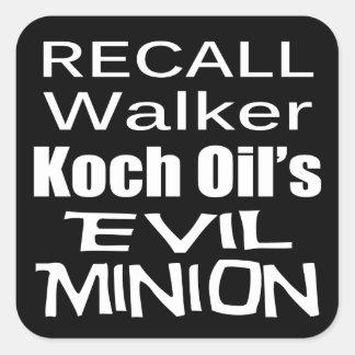 Recall Governor Scott Walker Corporate Evil Minion Square Sticker