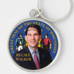 Recall Scott Walker Silver-Colored Round Key Ring