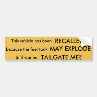 Recall sticker bumper sticker
