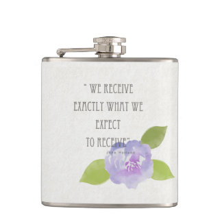 RECEIVE WHAT WE EXPECT TO RECEIVE PURPLE FLORAL FLASK