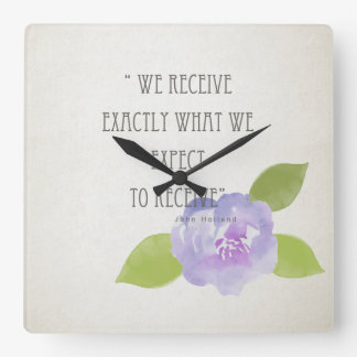 RECEIVE WHAT WE EXPECT TO RECEIVE PURPLE FLORAL SQUARE WALL CLOCK