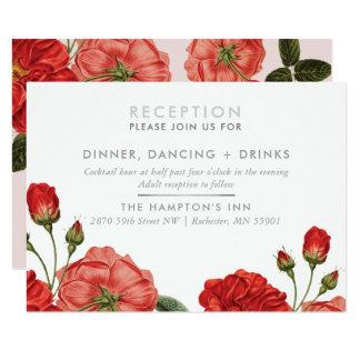 RECEPTION CARD vintage red roses floral bouquet