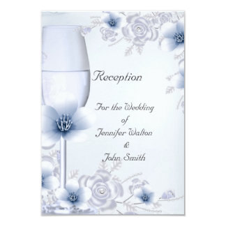 Reception Card Wedding Silver Blue Rose Blossom