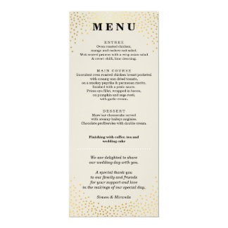 RECEPTION DINNER MENU mini gold confetti ivory Card