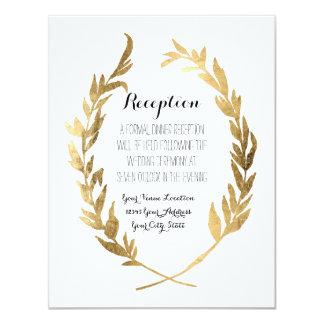 Reception Laurel Wreath Modern Faux Gold Leaf 11 Cm X 14 Cm Invitation Card
