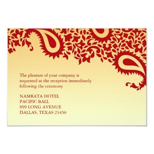 Reception Paisley Indian Style Wedding Flat Card