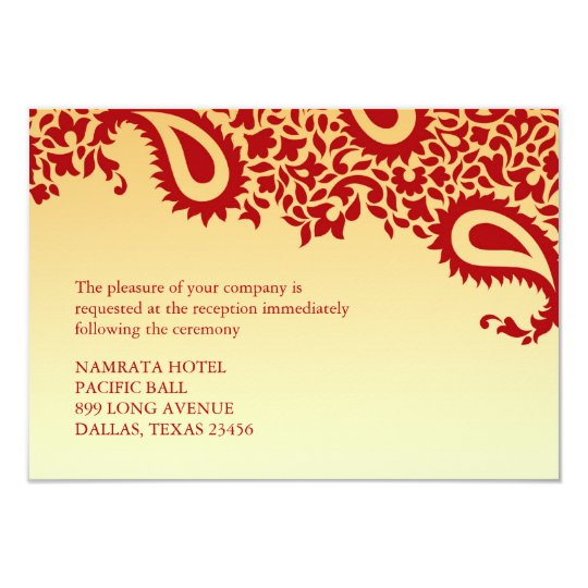 Reception Paisley Indian Style Wedding Flat Card 9 Cm X 13 Cm Invitation Card