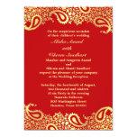 Reception Paisleys Wedding Elegant Flat Card 13 Cm X 18 Cm Invitation Card