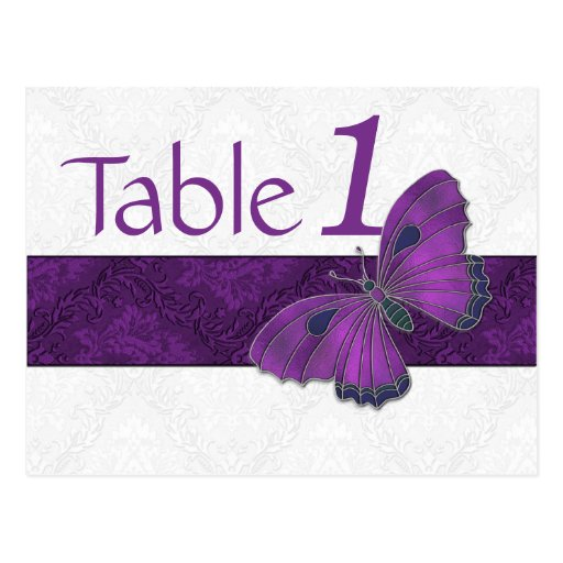 Reception Table Number Butterfly Brocade Purple Post Cards