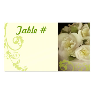 Reception Table Number Cards - Cream Roses Pack Of Standard Business Cards