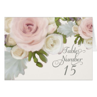 Reception Table Numbers Pretty Pastel Rose Floral