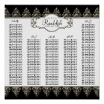 Reception Table Seating Chart Baroque Swirl Silver
