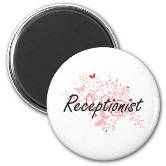 Receptionist Artistic Job Design with Butterflies 6 Cm Round Magnet
