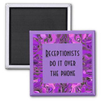 receptionist humor square magnet