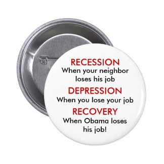 Recession, Depression, Recovery 6 Cm Round Badge