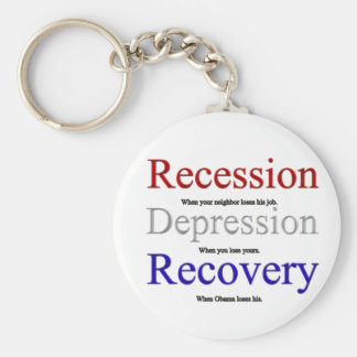 Recession Depression Recovery Keychains