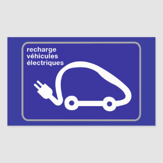Recharge Stn Electric Cars, Traffic Sign, France Rectangular Sticker