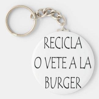 Recicla O Vete A La Burger Basic Round Button Key Ring